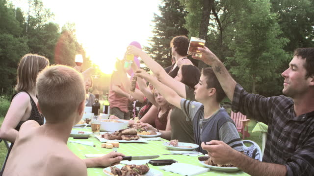 grandmother birth party big family outdoor - social gathering stock videos & royalty-free footage