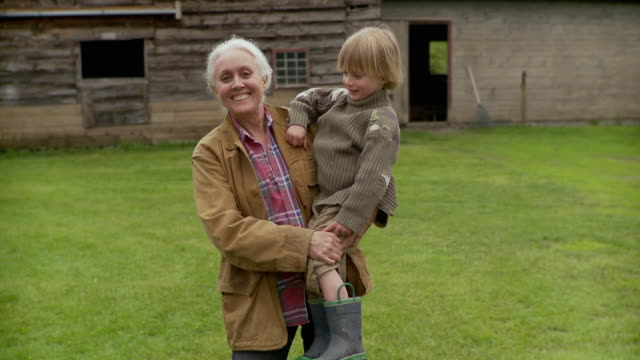 ms grandmother carrying grandson (2-3), smiling / stowe, vermont, usa     - farmhouse stock videos & royalty-free footage