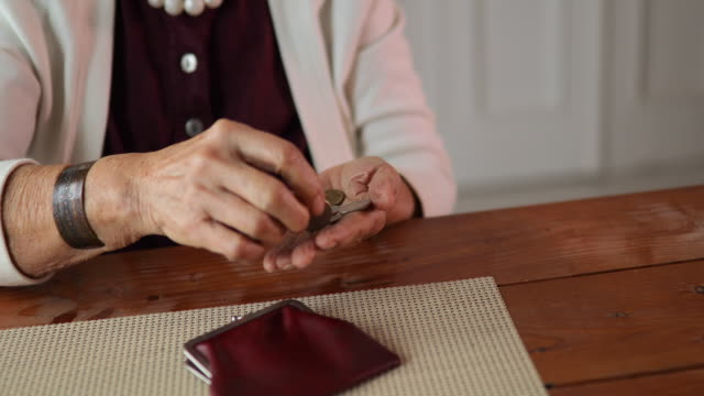 grandmother counting coins - wallet stock videos & royalty-free footage
