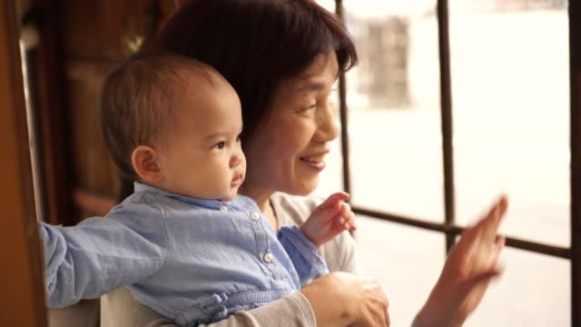 祖母と遊びの孫娘 - 祖母点の映像素材/bロール