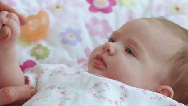 vídeos y material grabado en eventos de stock de cu grandmother showing affection to new born baby (0-1 months) / tampa, florida, usa - bebés 0 1