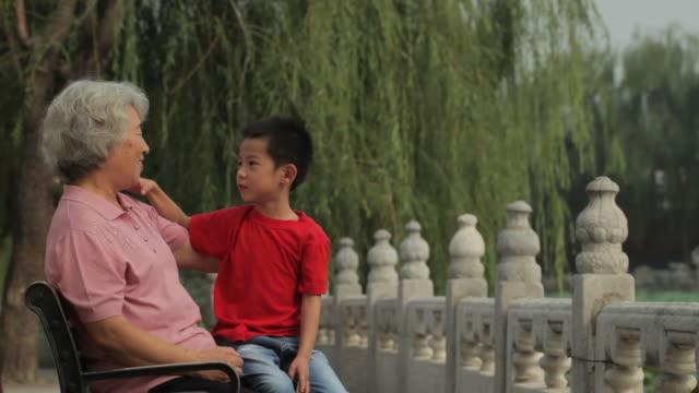 vídeos y material grabado en eventos de stock de ms grandmother talking with her grandson, sitting on park bench / china - en el regazo