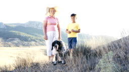 Grandmother with grandson and dog