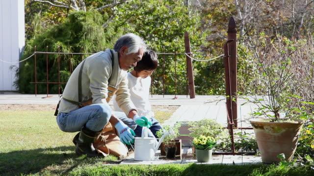 ms grandpa and grandchild are doing gardening in garden / fujikawaguchiko, yamanashi, japan - vattna bildbanksvideor och videomaterial från bakom kulisserna