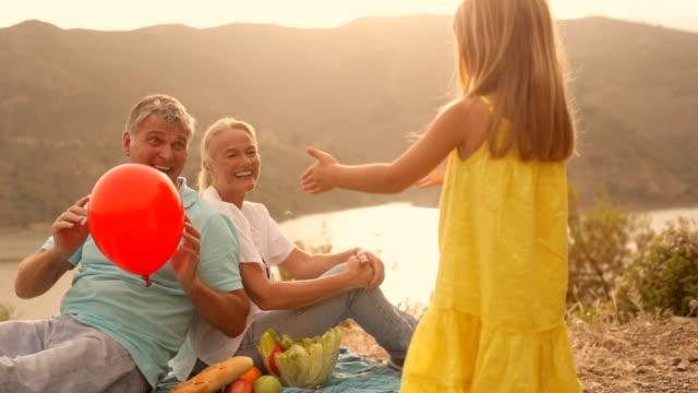 vídeos y material grabado en eventos de stock de grandparents and grandchild in sunset in countryside - encuadre de tres cuartos