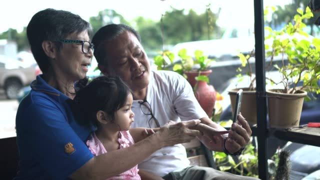 grandparents and grandchild making a selfie with smartphone - pulling funny faces stock videos & royalty-free footage