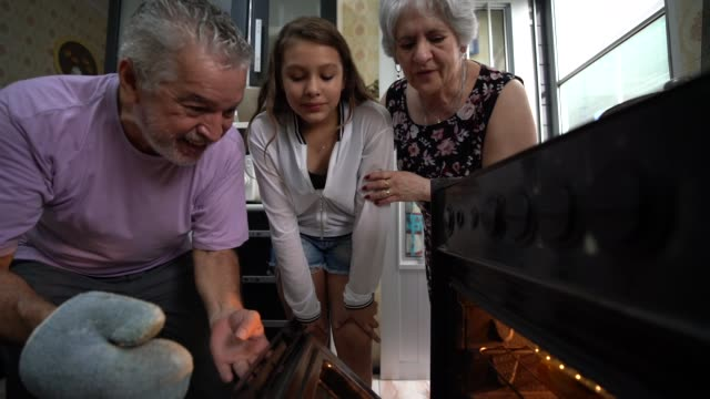 grandparents and granddaughter checking the traditional turkey for christmas dinner - spanish and portuguese ethnicity stock videos & royalty-free footage