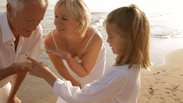 grandparents and granddaughter on beach with shells