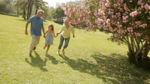 vídeos de stock e filmes b-roll de grandparents and granddaughter running in park - 60 64 anos