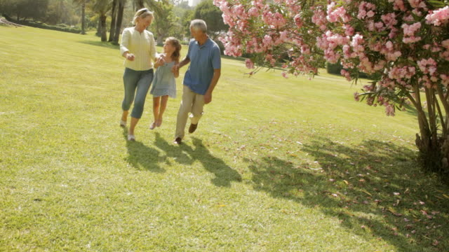 grandparents and granddaughter running in park - granddaughter stock videos & royalty-free footage