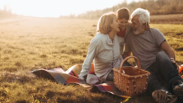 grandparents and grandson having fun outdoors - picnic stock videos & royalty-free footage