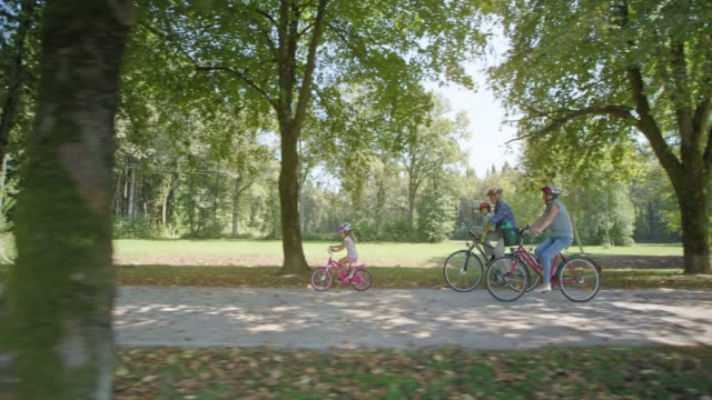 ts grandparents cycling in the park with granddaughter riding her own bike and toddler riding in the child seat - cycling stock videos & royalty-free footage