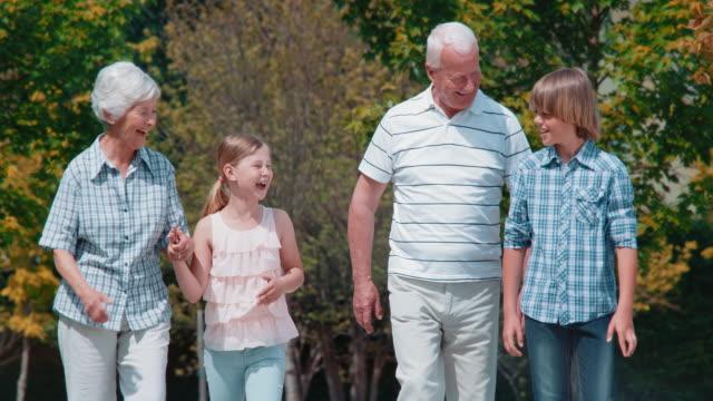 vídeos y material grabado en eventos de stock de abuelos disfruta de san luis obispo missouri caminando en el parque con sus nietos - 65 69 años