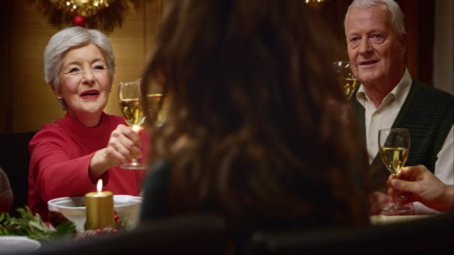SLO MO of grandparents making a Christmas toast with family