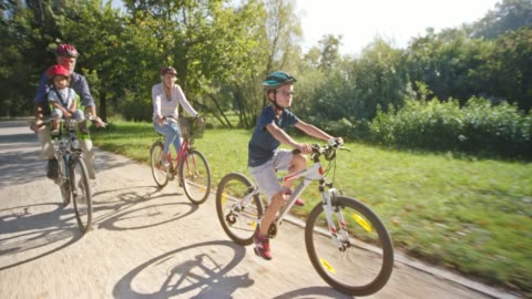 ts grandparents riding bikes in sunny park with one grandson riding his bike in front and other in the seat - riding stock videos & royalty-free footage