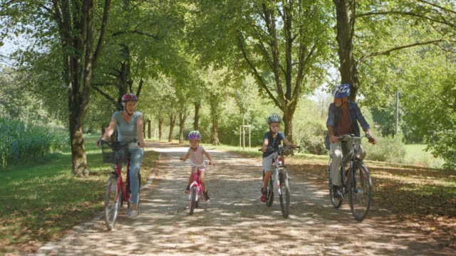 grandparents riding bikes in the sunny park with granddaughter and grandson - sports helmet stock videos & royalty-free footage