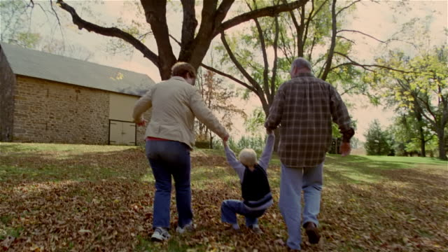 vídeos de stock e filmes b-roll de grandparents swinging boy between them while walking on lawn - casal idoso