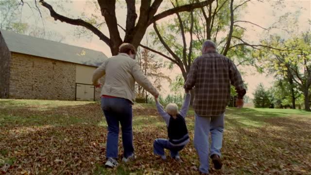 vídeos y material grabado en eventos de stock de grandparents swinging boy between them while walking on lawn - pareja mayor