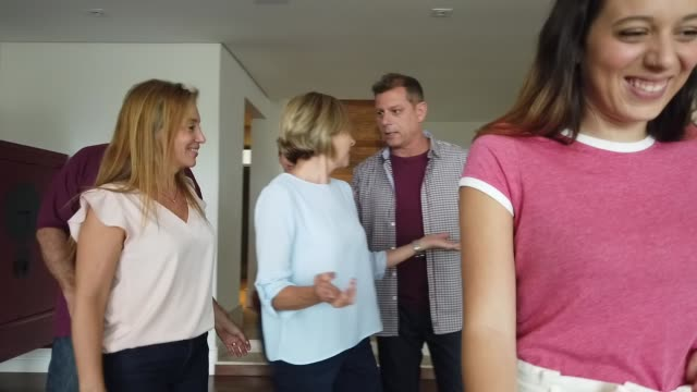 vídeos de stock e filmes b-roll de grandparents visiting and family greeting them - visita