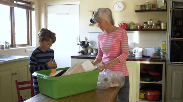 vidéos et rushes de grandson helping to sort recycling with his grandmother - organisation