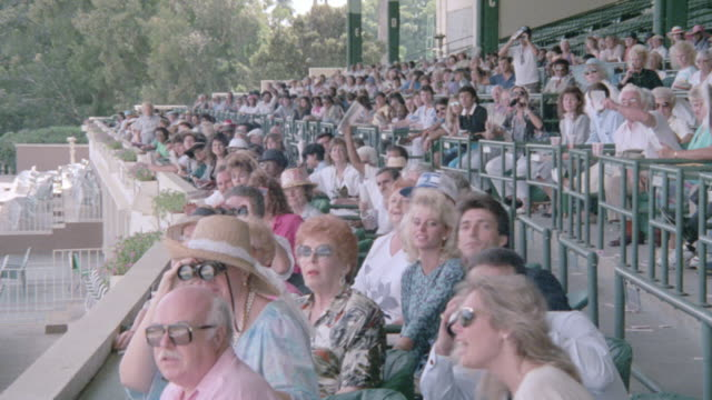 grandstand spectators stand and yell at a race track. - binoculars stock videos & royalty-free footage