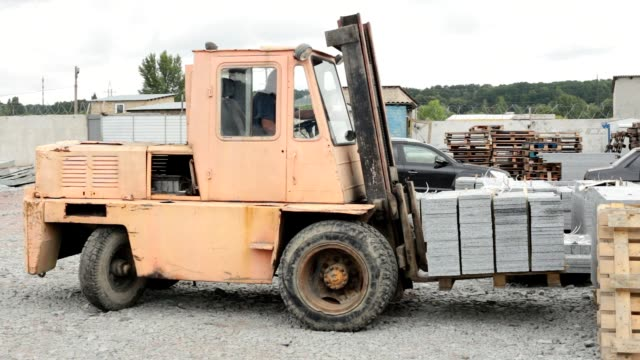 granite factory. - forklift truck stock videos and b-roll footage