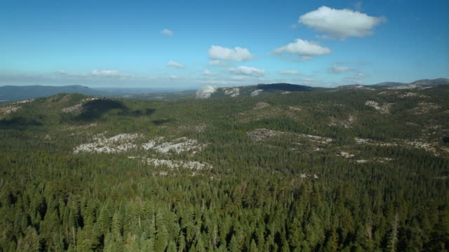 granite peaks through a heavily forested landscape of the eldorado national forest in the sierra nevadas. - californian sierra nevada stock videos & royalty-free footage