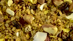 Granola with chestnuts, coconut, dried fruits and oats