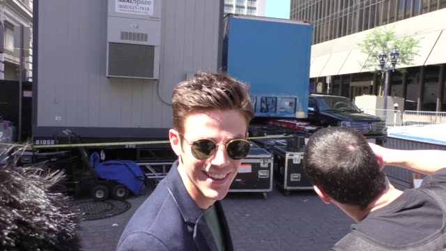 INTERVIEW Grant Gustin at Comic Con talking about dressing up as The Flash in Celebrity Sightings in San Diego