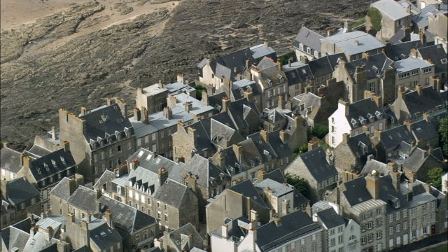 granville  - aerial view - lower normandy,  manche,  arrondissement d'avranches helicopter filming,  aerial video,  cineflex,  establishing shot,  france - history stock videos & royalty-free footage