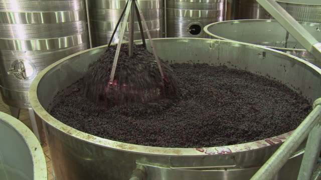 cu zi ts grape skins being punched down in fermentation tank, franschhoek, western cape, south africa - peel plant part stock videos and b-roll footage