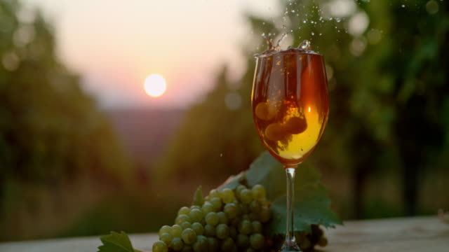 slo mo grapes falling into a full glass of wine - wine glass stock videos & royalty-free footage