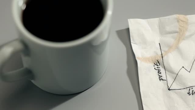 graph drawn on napkin - napkin stock videos & royalty-free footage