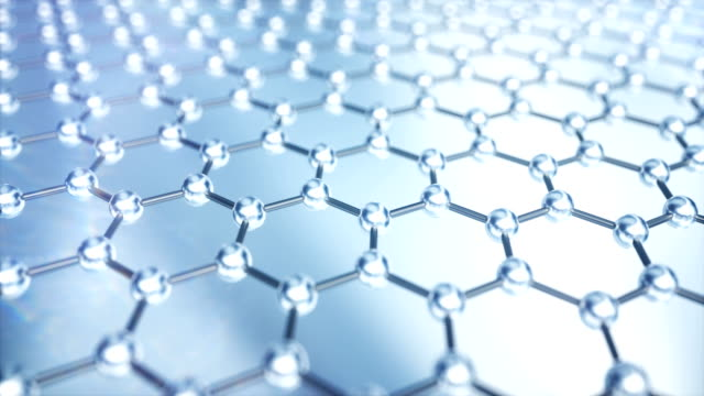 graphene layer of carbon atoms - nanotecnologia video stock e b–roll