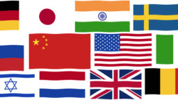 Graphic animation - National Flags of the world's 26 most powerful nations , Alpha Channel (transparent background)