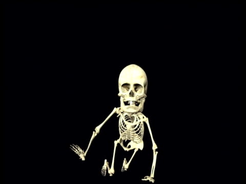 Graphic depicting skeleton of human baby crawling towards camera
