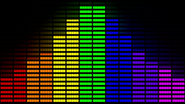 vídeos de stock e filmes b-roll de graphic equaliser made from pride rainbow animation - funky