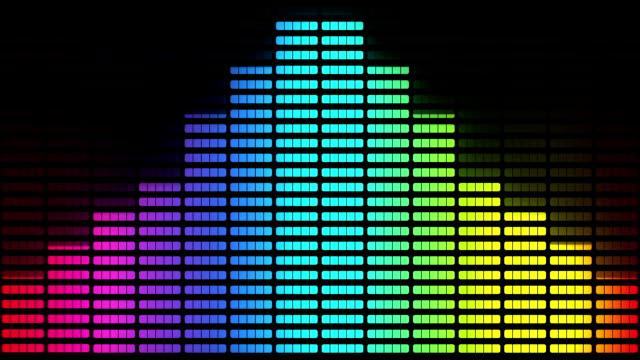 vídeos de stock e filmes b-roll de graphic equalizer: multi-coloured, loopable background - onda sonora