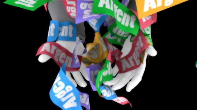 Graphic hands grasping at falling money with the word 'Argent'
