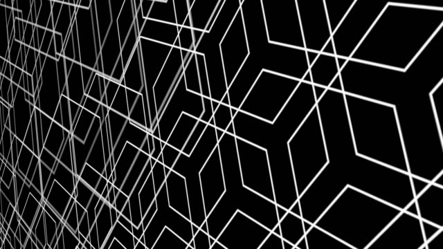 Graphic hexagon perspective white line on black background