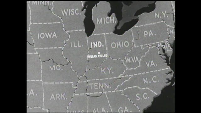 graphic of us map with abbreviated state names close up view of indiana with indianapolis labelled and other states around it - map stock videos & royalty-free footage