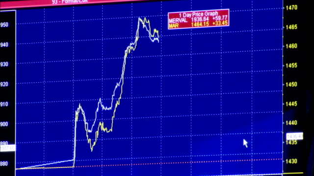 A graphic representation of stock value is displayed on a computer screen. Available in HD.