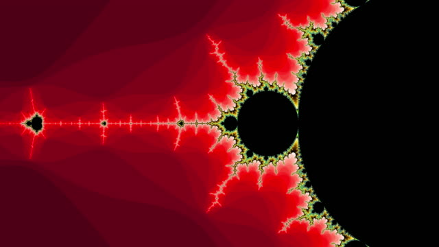 Graphic sequence depicting a colourful Mandelbrot set.
