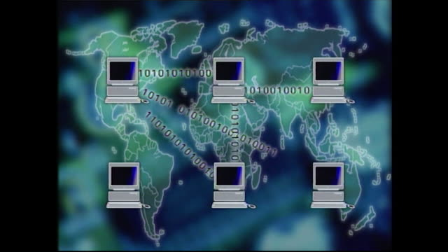 graphic showing internet connectivity and communication; 1998 - desktop pc stock-videos und b-roll-filmmaterial