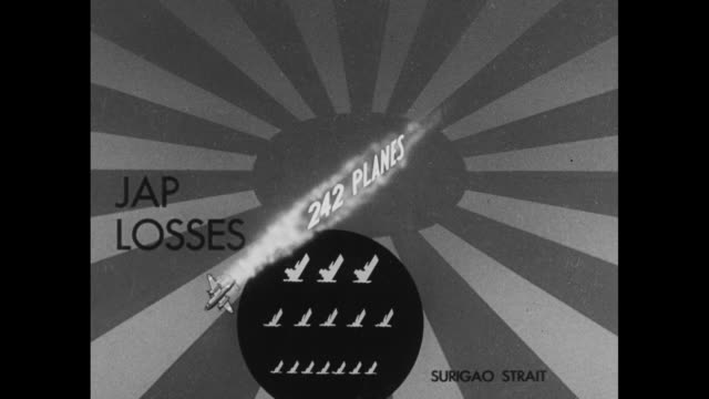vídeos de stock, filmes e b-roll de graphic shows japanese losses in battles of surigao strait san bernardino strait philippine [sic] formosa - guerra do pacífico