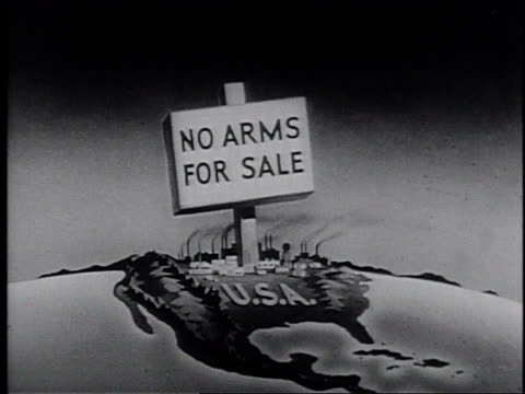 graphic with a sign reading 'no arms for sale' on the united states / united states - frank capra video stock e b–roll