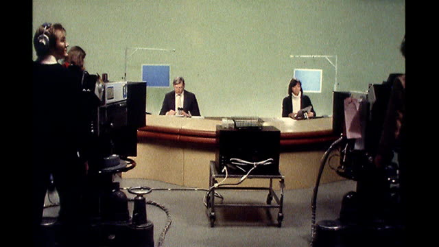 graphics guru ben blank dies aged 87; general views of sandy gall and anna ford presenting news bulletin in studio - anna ford stock videos & royalty-free footage