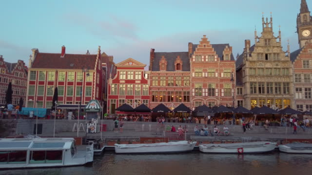 graslei harbour, ghent, belgium - belgium stock videos & royalty-free footage