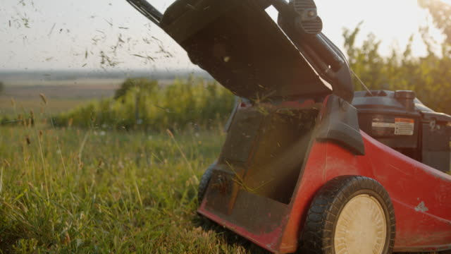 slo mo grass falling out of a mower - tagliaerba video stock e b–roll