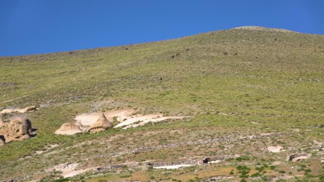 grass hill with rocks - gebäudefries stock-videos und b-roll-filmmaterial
